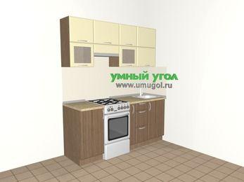 Прямая кухня МДФ матовый 5,0 м², 1800 мм, Ваниль / Лиственница бронзовая, верхние модули 720 мм, отдельно стоящая плита