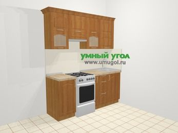 Прямая кухня МДФ матовый в классическом стиле 5,0 м², 1800 мм, Вишня, верхние модули 720 мм, отдельно стоящая плита
