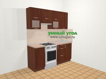 Прямая кухня МДФ матовый в классическом стиле 5,0 м², 180 см, Вишня темная, верхние модули 72 см, отдельно стоящая плита