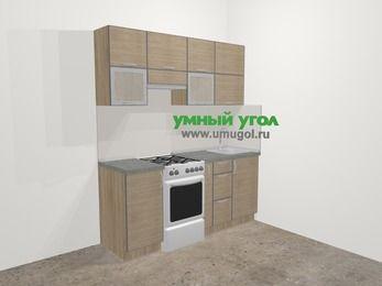 Кухни из пластика в стиле лофт 5,0 м², 180 см, Чибли бежевый, верхние модули 72 см, отдельно стоящая плита