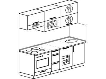 Прямая кухня 5,0 м² (1,8 м), верхние модули 72 см, посудомоечная машина, верхний модуль под свч, встроенный духовой шкаф