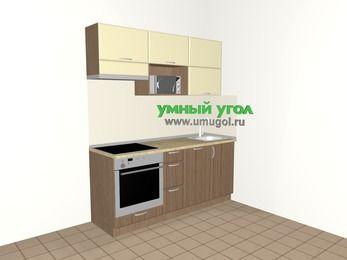 Прямая кухня МДФ матовый 5,0 м², 1800 мм, Ваниль / Лиственница бронзовая, верхние модули 720 мм, посудомоечная машина, верхний модуль под свч, встроенный духовой шкаф