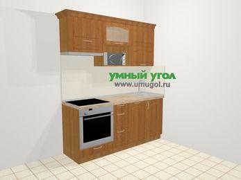 Прямая кухня МДФ матовый в классическом стиле 5,0 м², 1800 мм, Вишня, верхние модули 720 мм, посудомоечная машина, верхний модуль под свч, встроенный духовой шкаф