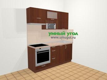 Прямая кухня МДФ матовый в классическом стиле 5,0 м², 180 см, Вишня темная, верхние модули 72 см, посудомоечная машина, верхний модуль под свч, встроенный духовой шкаф