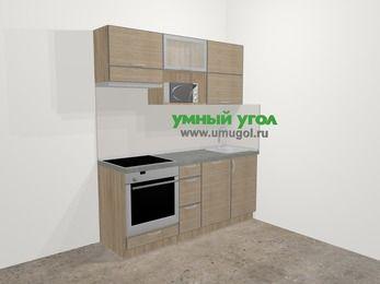 Кухни из пластика в стиле лофт 5,0 м², 180 см, Чибли бежевый, верхние модули 72 см, посудомоечная машина, верхний модуль под свч, встроенный духовой шкаф