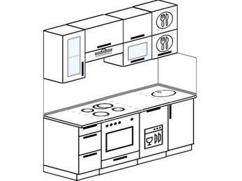 Планировка прямой кухни 5,0 м², 180 см: верхние модули 72 см, встроенный духовой шкаф, посудомоечная машина