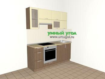 Прямая кухня МДФ матовый 5,0 м², 1800 мм, Ваниль / Лиственница бронзовая, верхние модули 720 мм, посудомоечная машина, встроенный духовой шкаф