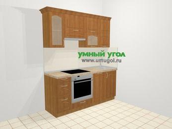 Прямая кухня МДФ матовый в классическом стиле 5,0 м², 1800 мм, Вишня, верхние модули 720 мм, посудомоечная машина, встроенный духовой шкаф