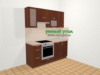 Прямая кухня МДФ матовый в классическом стиле 5,0 м², 180 см, Вишня темная, верхние модули 72 см, посудомоечная машина, встроенный духовой шкаф
