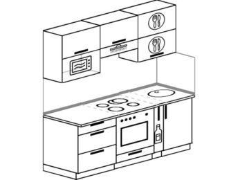 Планировка прямой кухни 5,0 м², 180 см: верхние модули 72 см, встроенный духовой шкаф, корзина-бутылочница, верхний модуль под свч