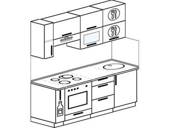 Прямая кухня 5,0 м² (1,8 м), верхние модули 720 мм, встроенный духовой шкаф