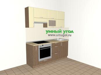 Прямая кухня МДФ матовый 5,0 м², 1800 мм, Ваниль / Лиственница бронзовая, верхние модули 720 мм, встроенный духовой шкаф