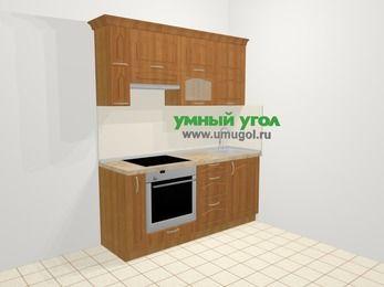 Прямая кухня МДФ матовый в классическом стиле 5,0 м², 180 см, Вишня, верхние модули 72 см, встроенный духовой шкаф