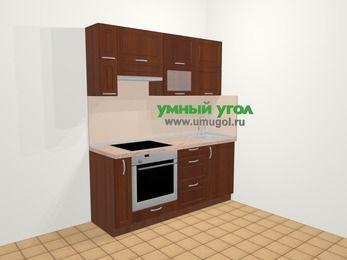 Прямая кухня МДФ матовый в классическом стиле 5,0 м², 180 см, Вишня темная, верхние модули 72 см, встроенный духовой шкаф