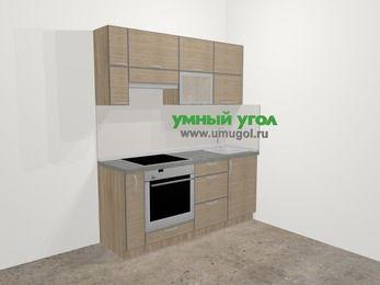 Кухни из пластика в стиле лофт 5,0 м², 180 см, Чибли бежевый, верхние модули 72 см, встроенный духовой шкаф