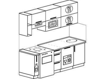 Прямая кухня 5,0 м² (1,8 м), верхние модули 720 мм, посудомоечная машина, верхний модуль под свч, отдельно стоящая плита