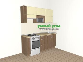 Прямая кухня МДФ матовый 5,0 м², 1800 мм, Ваниль / Лиственница бронзовая, верхние модули 720 мм, посудомоечная машина, верхний модуль под свч, отдельно стоящая плита
