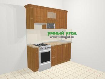 Прямая кухня МДФ матовый в классическом стиле 5,0 м², 1800 мм, Вишня, верхние модули 720 мм, посудомоечная машина, верхний модуль под свч, отдельно стоящая плита
