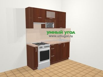 Прямая кухня МДФ матовый в классическом стиле 5,0 м², 180 см, Вишня темная, верхние модули 72 см, посудомоечная машина, верхний модуль под свч, отдельно стоящая плита