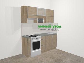 Кухни из пластика в стиле лофт 5,0 м², 180 см, Чибли бежевый, верхние модули 72 см, посудомоечная машина, верхний модуль под свч, отдельно стоящая плита