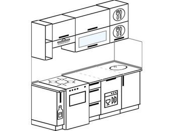 Прямая кухня 5,0 м² (1,8 м), верхние модули 720 мм, посудомоечная машина, отдельно стоящая плита