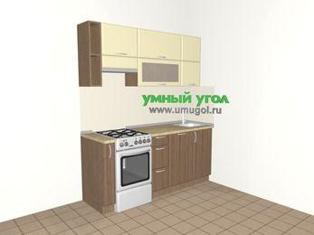 Прямая кухня МДФ матовый 5,0 м², 1800 мм, Ваниль / Лиственница бронзовая, верхние модули 720 мм, посудомоечная машина, отдельно стоящая плита