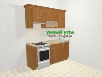 Прямая кухня МДФ матовый в классическом стиле 5,0 м², 1800 мм, Вишня, верхние модули 720 мм, посудомоечная машина, отдельно стоящая плита