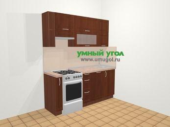 Прямая кухня МДФ матовый в классическом стиле 5,0 м², 180 см, Вишня темная, верхние модули 72 см, посудомоечная машина, отдельно стоящая плита