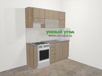 Кухни из пластика в стиле лофт 5,0 м², 180 см, Чибли бежевый, верхние модули 72 см, посудомоечная машина, отдельно стоящая плита