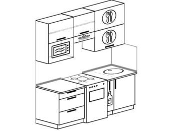 Прямая кухня 5,0 м² (1,8 м), верхние модули 920 мм, верхний витринный модуль под свч, отдельно стоящая плита