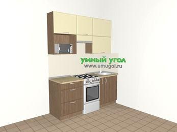 Прямая кухня МДФ матовый 5,0 м², 1800 мм, Ваниль / Лиственница бронзовая, верхние модули 920 мм, верхний витринный модуль под свч, отдельно стоящая плита