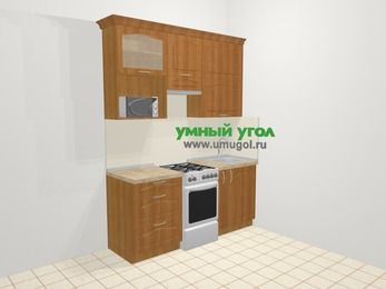 Прямая кухня МДФ матовый в классическом стиле 5,0 м², 180 см, Вишня, верхние модули 92 см, верхний модуль под свч, отдельно стоящая плита