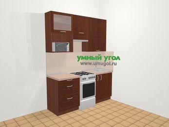Прямая кухня МДФ матовый в классическом стиле 5,0 м², 180 см, Вишня темная, верхние модули 92 см, верхний модуль под свч, отдельно стоящая плита