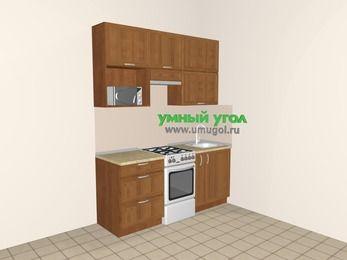 Прямая кухня из рамочного МДФ 5,0 м², 1800 мм, Орех, верхние модули 920 мм, верхний витринный модуль под свч, отдельно стоящая плита