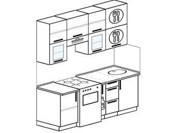 Прямая кухня 5,0 м² (1,8 м), верхние модули 920 мм, отдельно стоящая плита