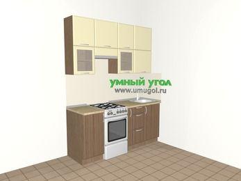 Прямая кухня МДФ матовый 5,0 м², 1800 мм, Ваниль / Лиственница бронзовая, верхние модули 920 мм, отдельно стоящая плита