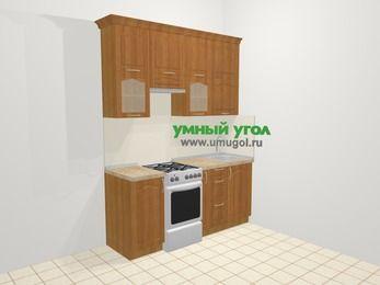 Прямая кухня МДФ матовый в классическом стиле 5,0 м², 180 см, Вишня, верхние модули 92 см, отдельно стоящая плита