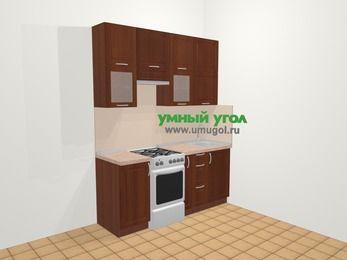 Прямая кухня МДФ матовый в классическом стиле 5,0 м², 180 см, Вишня темная, верхние модули 92 см, отдельно стоящая плита