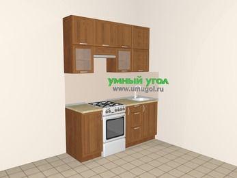 Прямая кухня из рамочного МДФ 5,0 м², 1800 мм, Орех, верхние модули 920 мм, отдельно стоящая плита