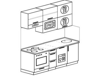 Прямая кухня 5,0 м² (1,8 м), верхние модули 920 мм, посудомоечная машина, верхний витринный модуль под свч, встроенный духовой шкаф
