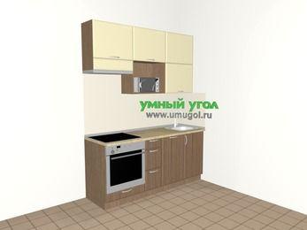Прямая кухня МДФ матовый 5,0 м², 1800 мм, Ваниль / Лиственница бронзовая, верхние модули 920 мм, посудомоечная машина, верхний витринный модуль под свч, встроенный духовой шкаф