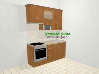 Прямая кухня МДФ матовый в классическом стиле 5,0 м², 180 см, Вишня, верхние модули 92 см, посудомоечная машина, верхний модуль под свч, встроенный духовой шкаф