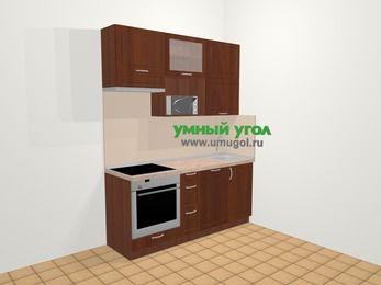 Прямая кухня МДФ матовый в классическом стиле 5,0 м², 180 см, Вишня темная, верхние модули 92 см, посудомоечная машина, верхний модуль под свч, встроенный духовой шкаф