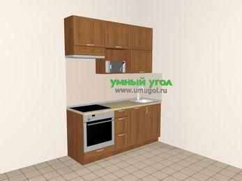 Прямая кухня из рамочного МДФ 5,0 м², 1800 мм, Орех, верхние модули 920 мм, посудомоечная машина, верхний витринный модуль под свч, встроенный духовой шкаф