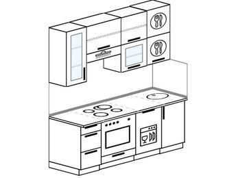 Прямая кухня 5,0 м² (1,8 м), верхние модули 920 мм, посудомоечная машина, встроенный духовой шкаф
