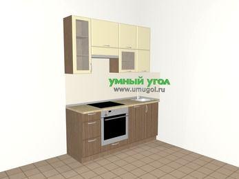 Прямая кухня МДФ матовый 5,0 м², 1800 мм, Ваниль / Лиственница бронзовая, верхние модули 920 мм, посудомоечная машина, встроенный духовой шкаф
