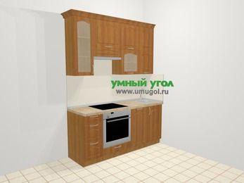 Прямая кухня МДФ матовый в классическом стиле 5,0 м², 180 см, Вишня, верхние модули 92 см, посудомоечная машина, встроенный духовой шкаф