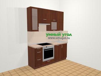 Прямая кухня МДФ матовый в классическом стиле 5,0 м², 180 см, Вишня темная, верхние модули 92 см, посудомоечная машина, встроенный духовой шкаф