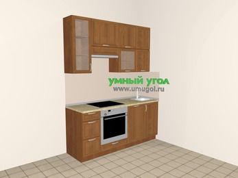 Прямая кухня из рамочного МДФ 5,0 м², 1800 мм, Орех, верхние модули 920 мм, посудомоечная машина, встроенный духовой шкаф