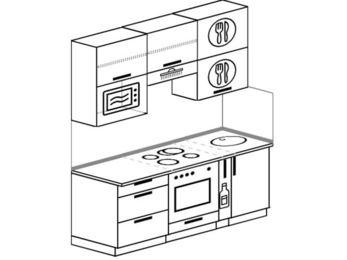 Прямая кухня 5,0 м² (1,8 м), верхние модули 920 мм, верхний витринный модуль под свч, встроенный духовой шкаф